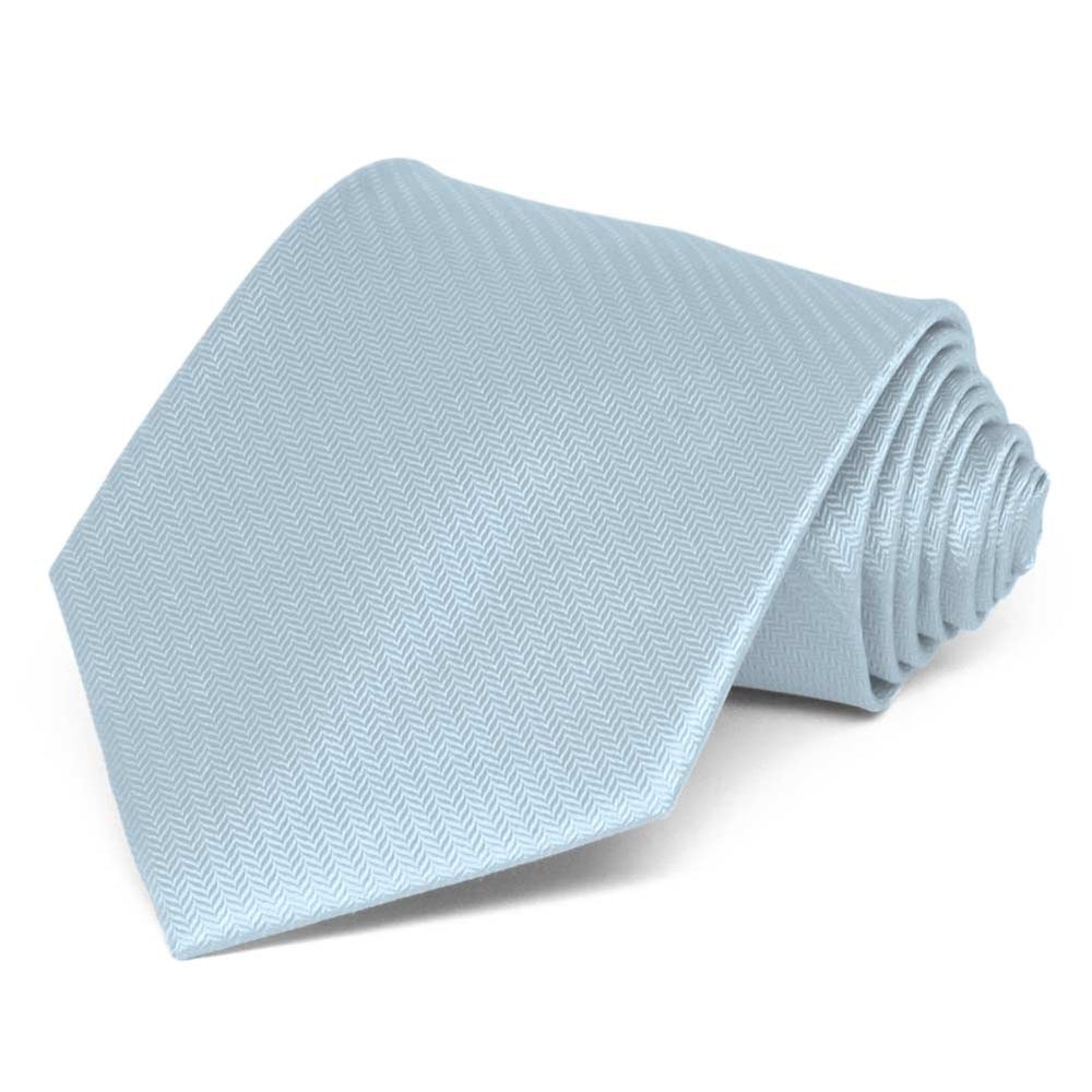 Pale Blue Herringbone Silk Extra Long Necktie