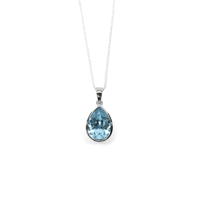 Pale Blue Pear Shaped Crystal Necklace