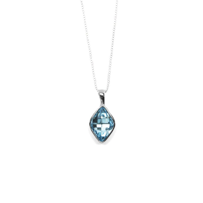 Pale Blue Rhombus Shaped Crystal Necklace