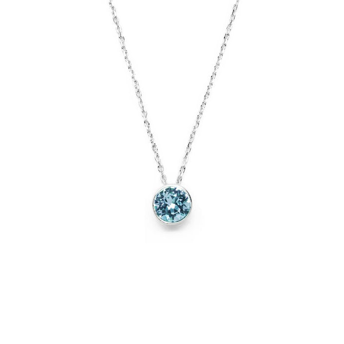 Pale Blue Round Crystal Necklace