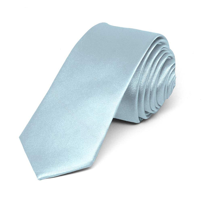 Pale Blue Skinny Solid Color Necktie, 2