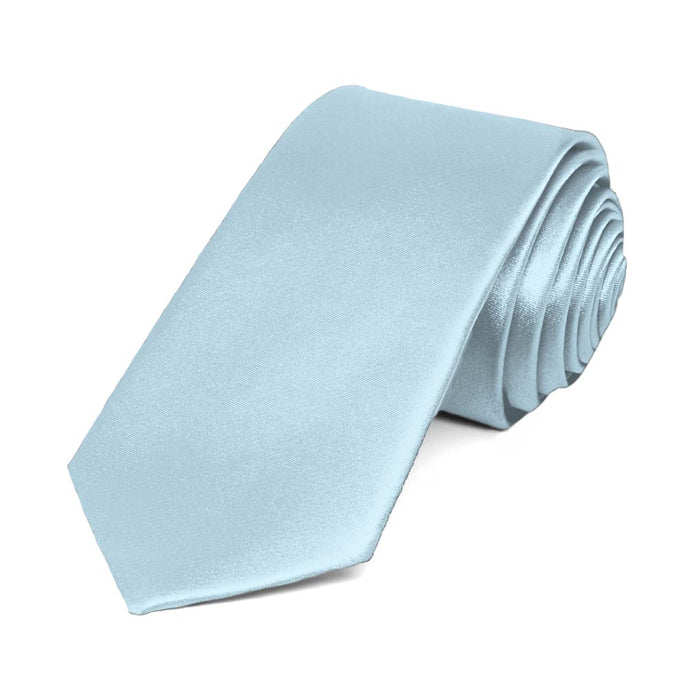 Pale Blue Slim Solid Color Necktie, 2.5