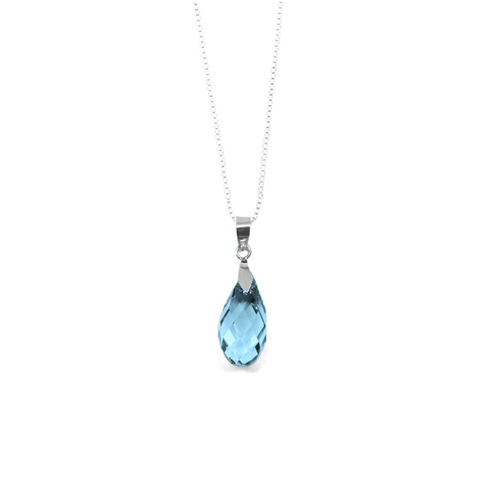 Pale Blue Briolette Crystal Necklace