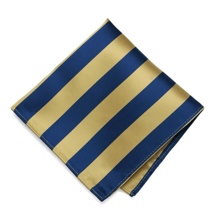 Light Gold and Twilight Blue Striped Pocket Square