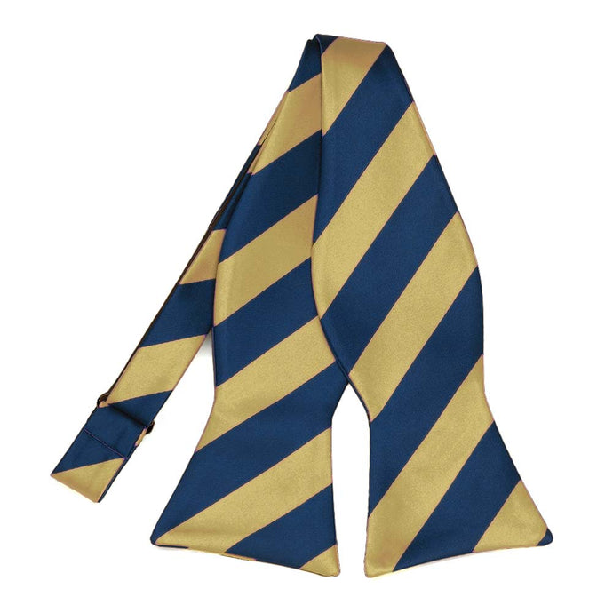 Light Gold and Twilight Blue Striped Self-Tie Bow Tie