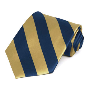 TieMart Boys Pale Gold and Twilight Blue Striped Bow Tie