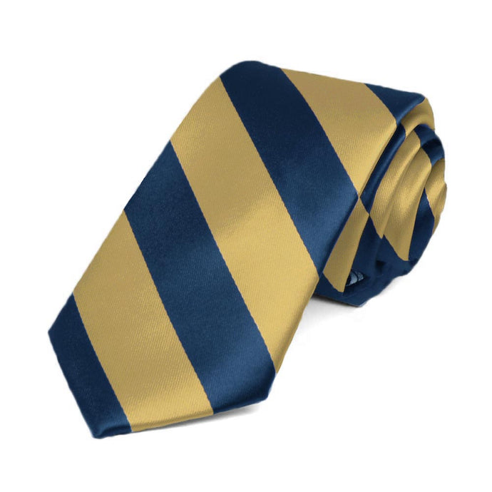 Light Gold and Twilight Blue Striped Slim Tie, 2.5 Width