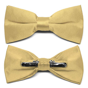 Pale Gold Clip-On Bow Tie