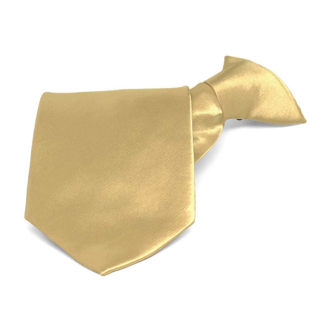 Pale Gold Solid Color Clip-On Tie