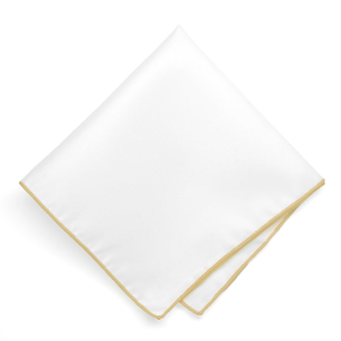 Pale Gold Tipped White Pocket Square