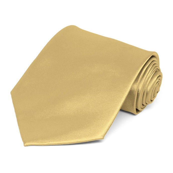Pale Gold Extra Long Solid Color Necktie