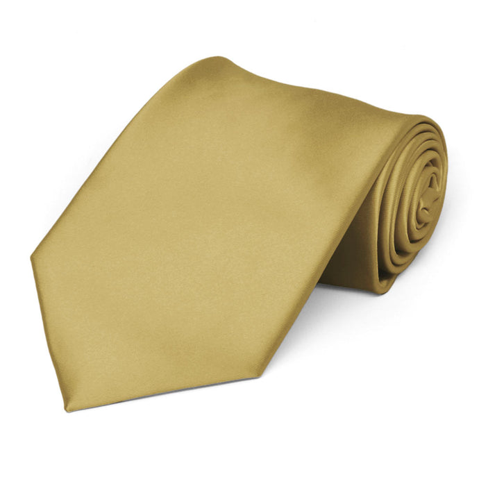 Light Gold Premium Extra Long Solid Color Necktie
