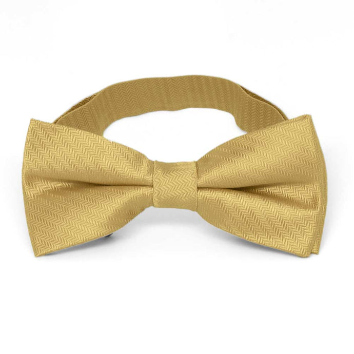 Pale Gold Herringbone Silk Bow Tie