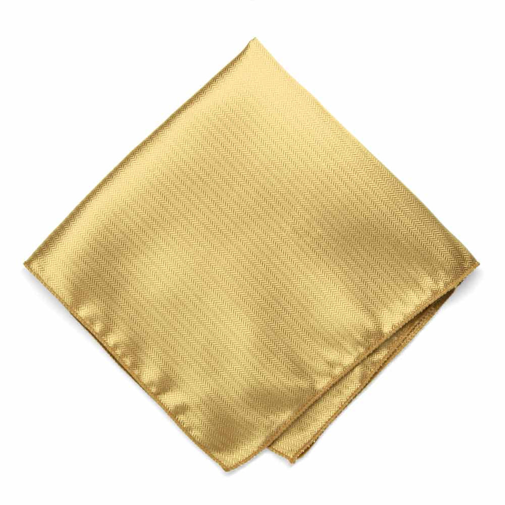 Pale Gold Herringbone Silk Pocket Square