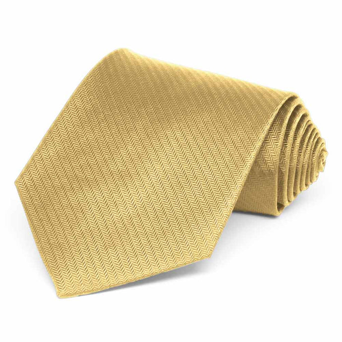 Pale Gold Herringbone Silk Necktie