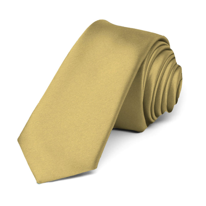 Light Gold Premium Skinny Necktie, 2