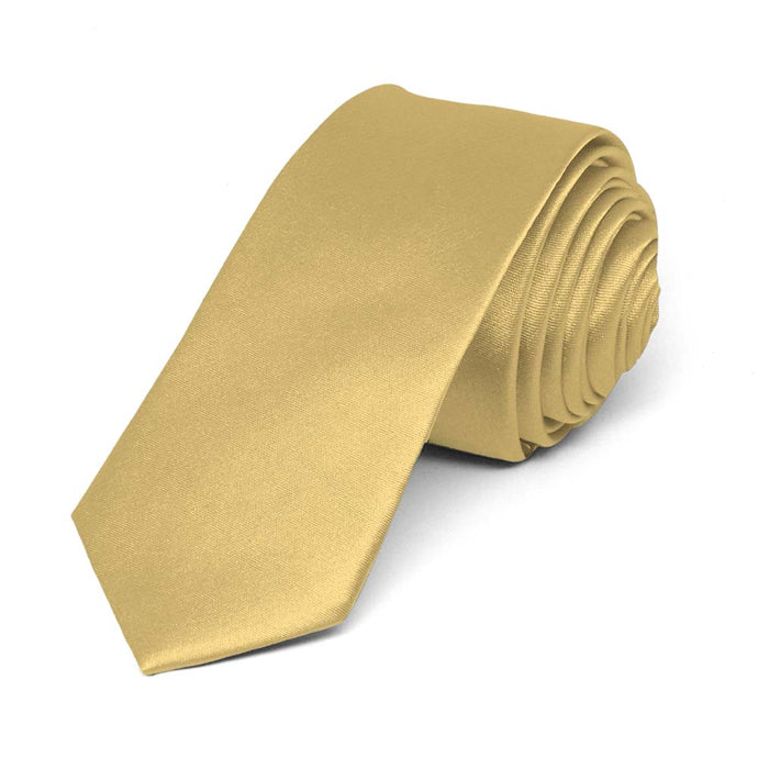 Pale Gold Skinny Solid Color Necktie, 2