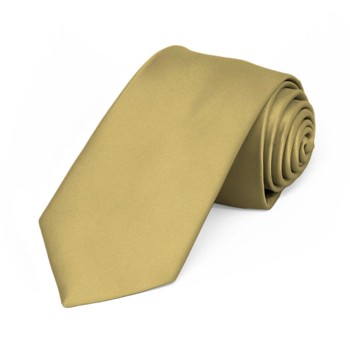 Light Gold Premium Slim Necktie, 2.5