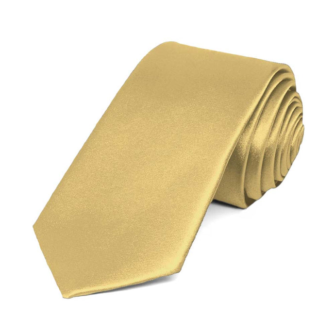 Pale Gold Slim Solid Color Necktie, 2.5