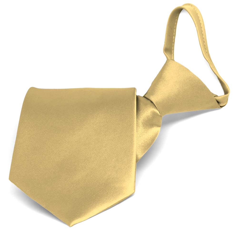 Pale Gold Solid Color Zipper Tie