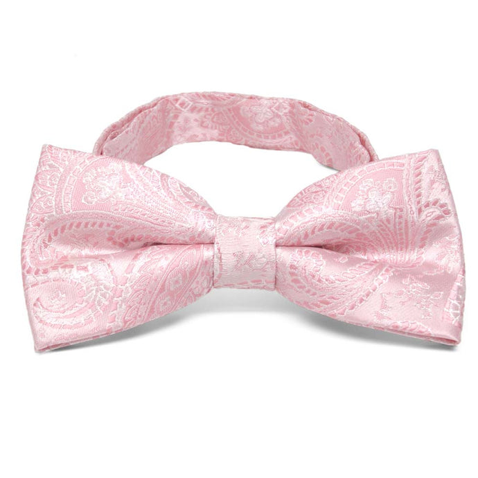 Pale Pink Clara Paisley Band Collar Bow Tie
