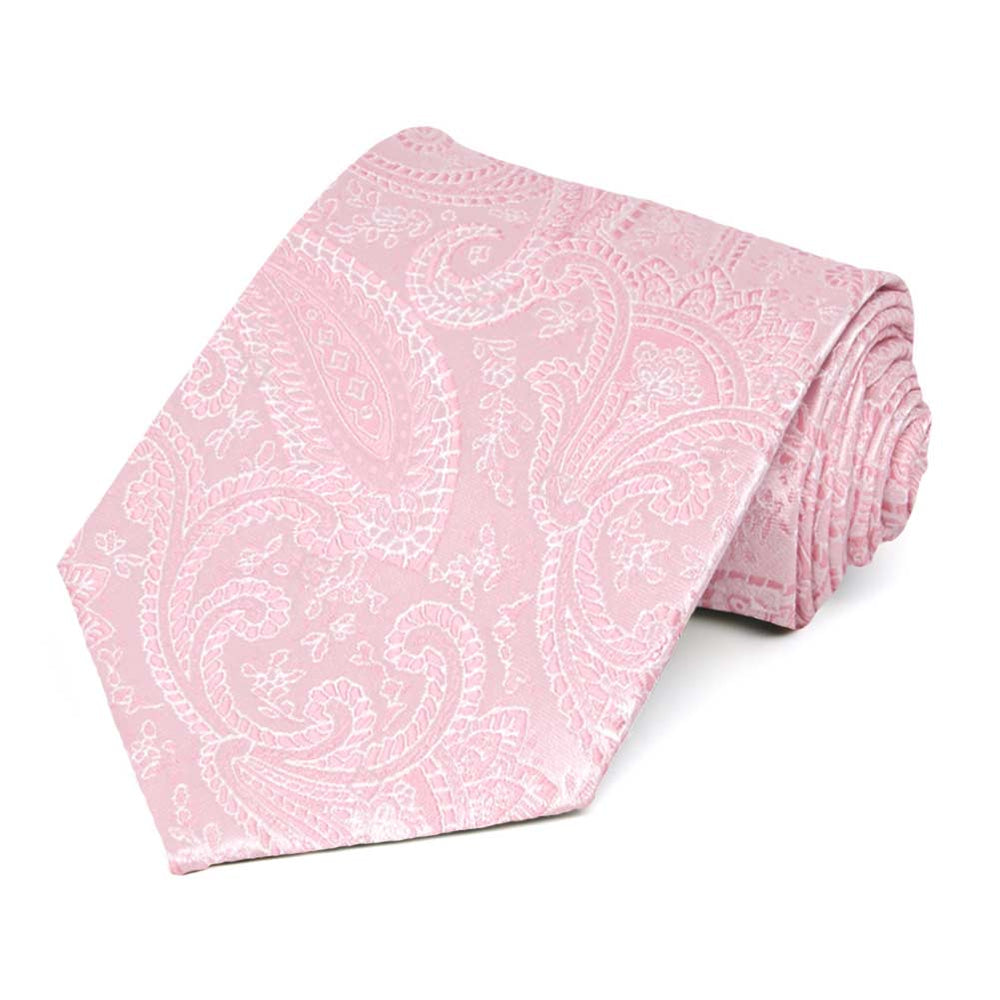 Pale Pink Clara Paisley Extra Long Necktie