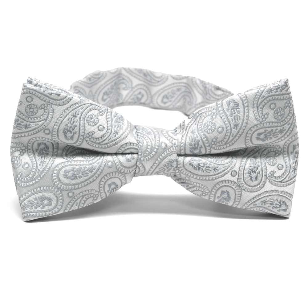 Pale Silver Darlene Paisley Band Collar Bow Tie