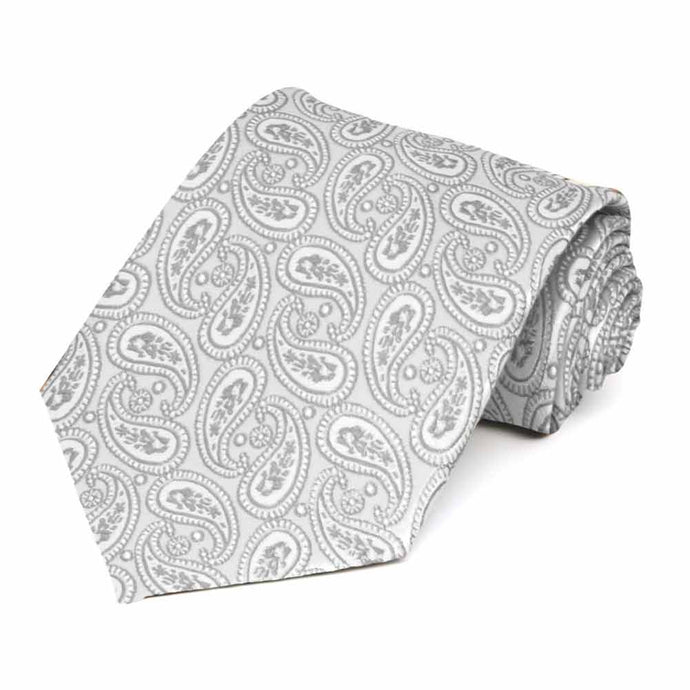Pale Silver Darlene Paisley Extra Long Necktie