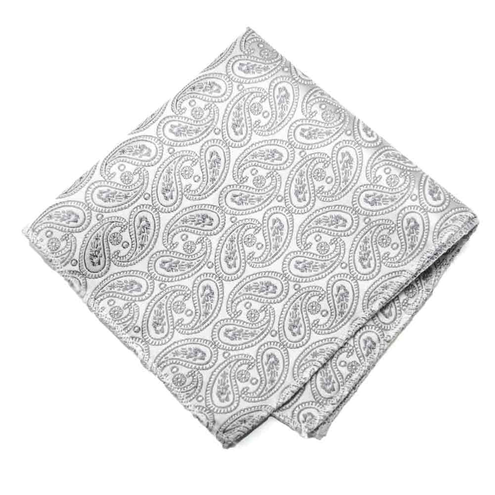 Pale Silver Darlene Paisley Pocket Square