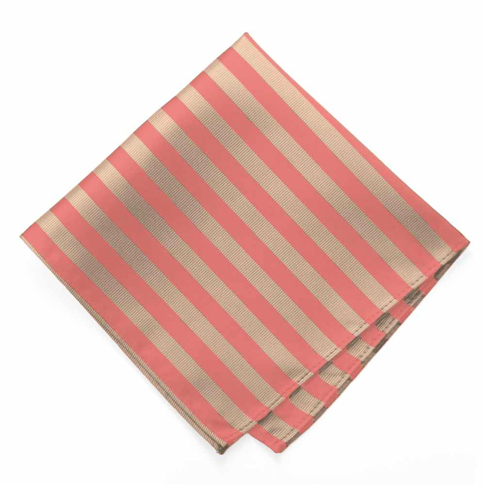 Palm Coast Coral and Beige Formal Striped Pocket Square