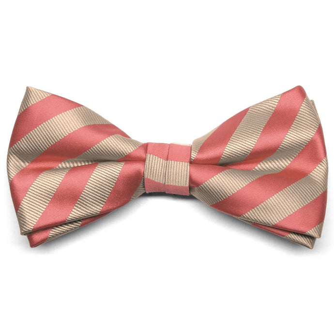 Palm Coast Coral and Beige Formal Striped Bow Tie