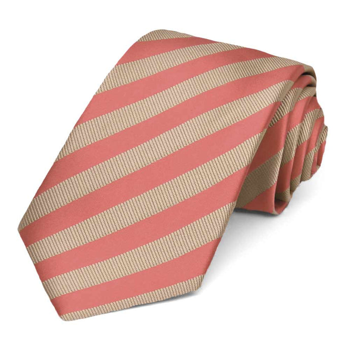 Palm Coast Coral and Beige Formal Striped Tie