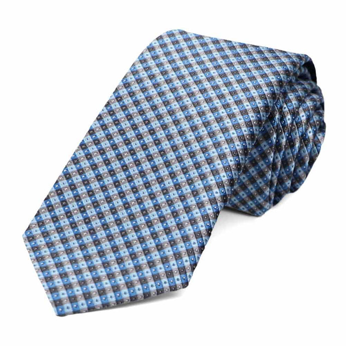 Dusty blue and gray checkered slim tie