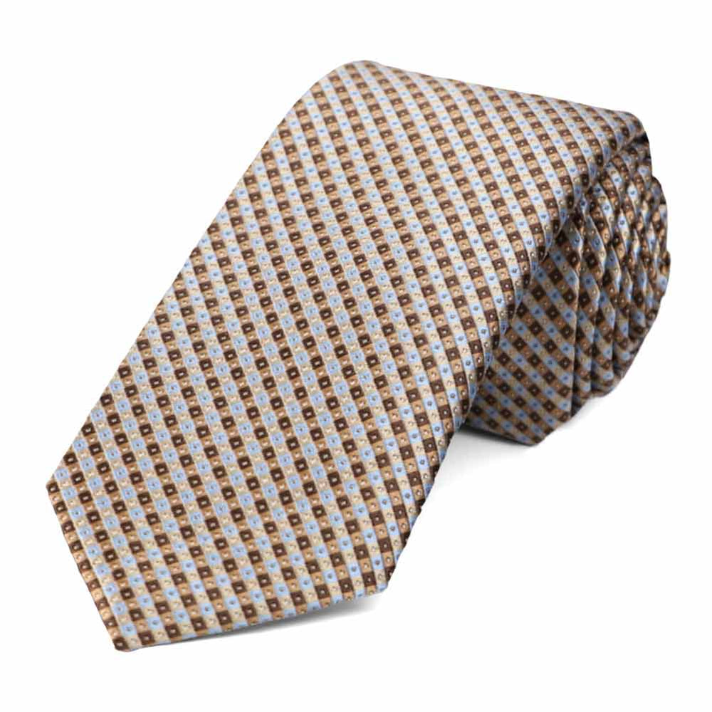 Light Brown Parker Checked Slim Necktie