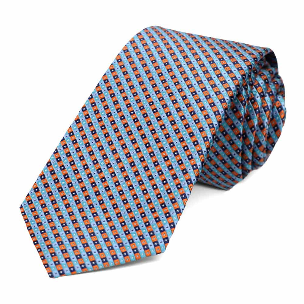 Blue and orange checkered slim tie