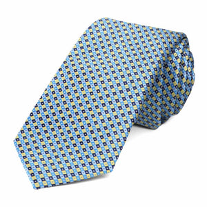Blue and yellow checkered slim tie