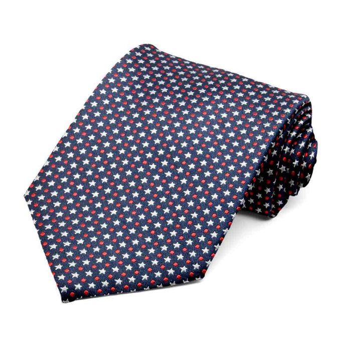 Red, White and Navy Blue Representative Star Silk Necktie