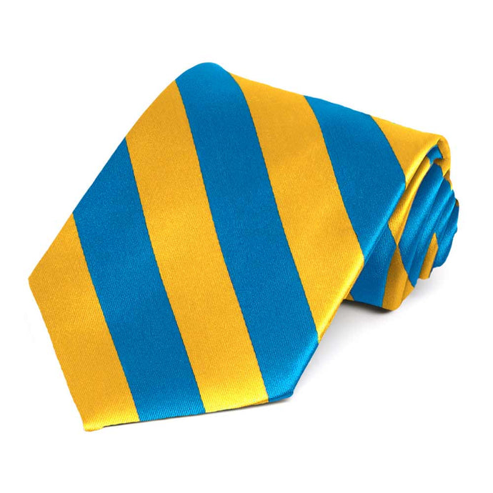 Peacock Blue and Golden Yellow Striped Tie