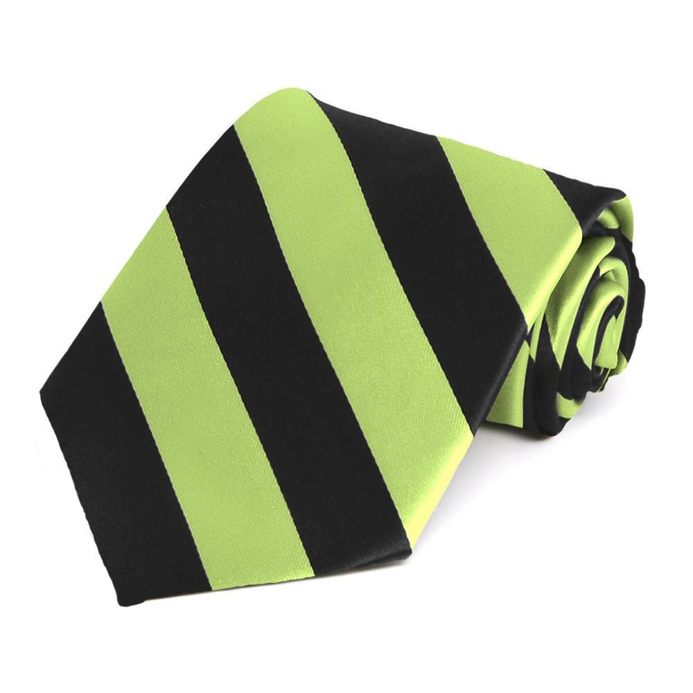 Pear Green and Black Striped Tie