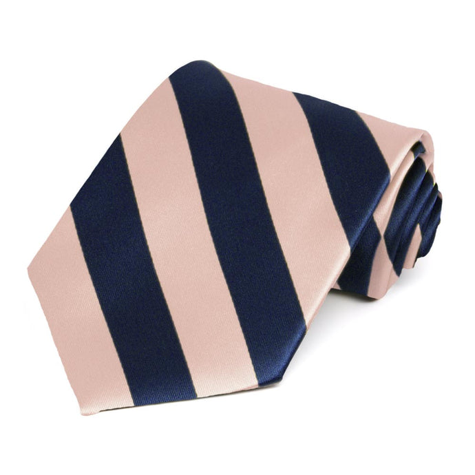 Petal and Navy Blue Extra Long Striped Tie