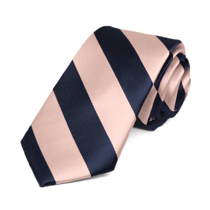 Petal and Navy Blue Striped Slim Tie, 2.5