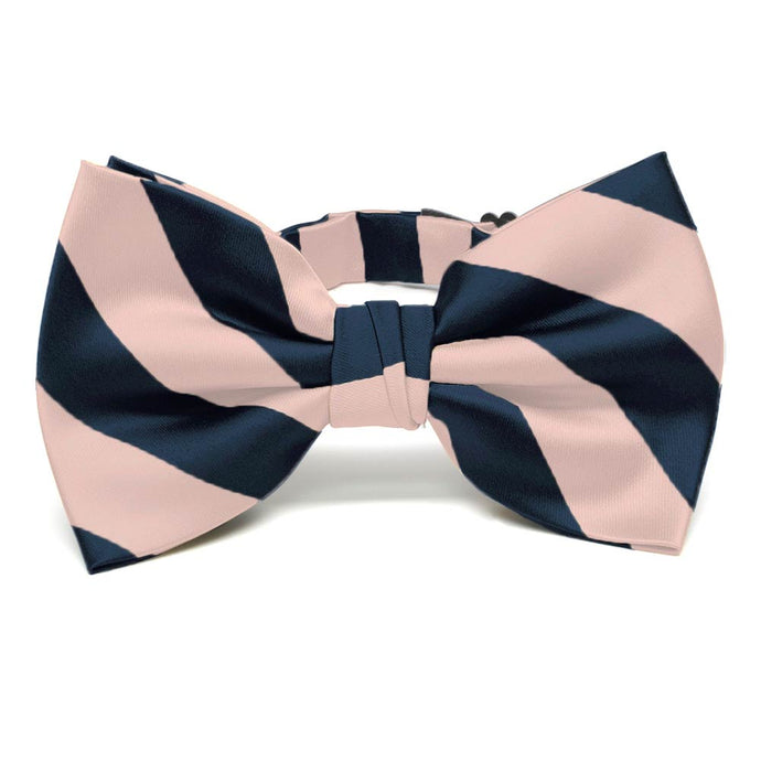 Petal and Navy Blue Striped Bow Tie