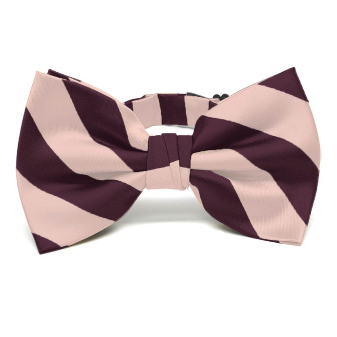 Petal and Wine Striped Bow Tie