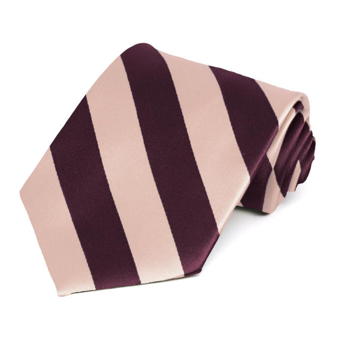 Petal and Wine Extra Long Striped Tie