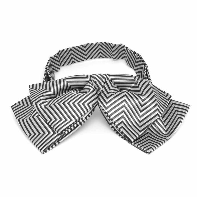 Pewter Kimberly Chevron Stripe Floppy Bow Tie
