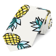 "Load image into Gallery viewer, Pineapple pattern cotton narrow 3"" necktie on white background"