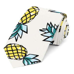 "Pineapple pattern cotton narrow 3"" necktie on white background"