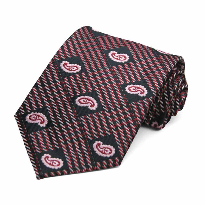 Black and Light Pink Churchill Paisley Necktie