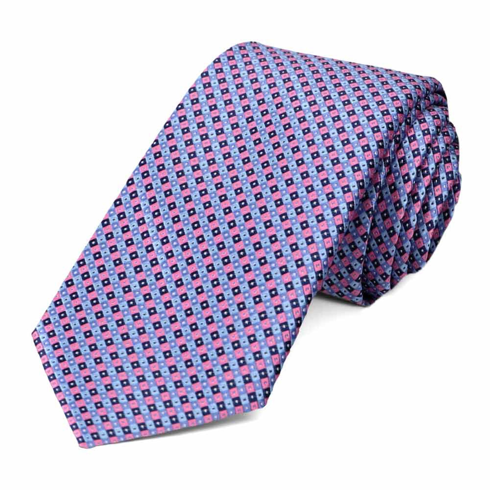 Cornflower Blue Parker Checked Slim Necktie