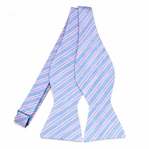 Pink and Blue Envoy Stripe Linen/Silk Self-Tie Bow Tie